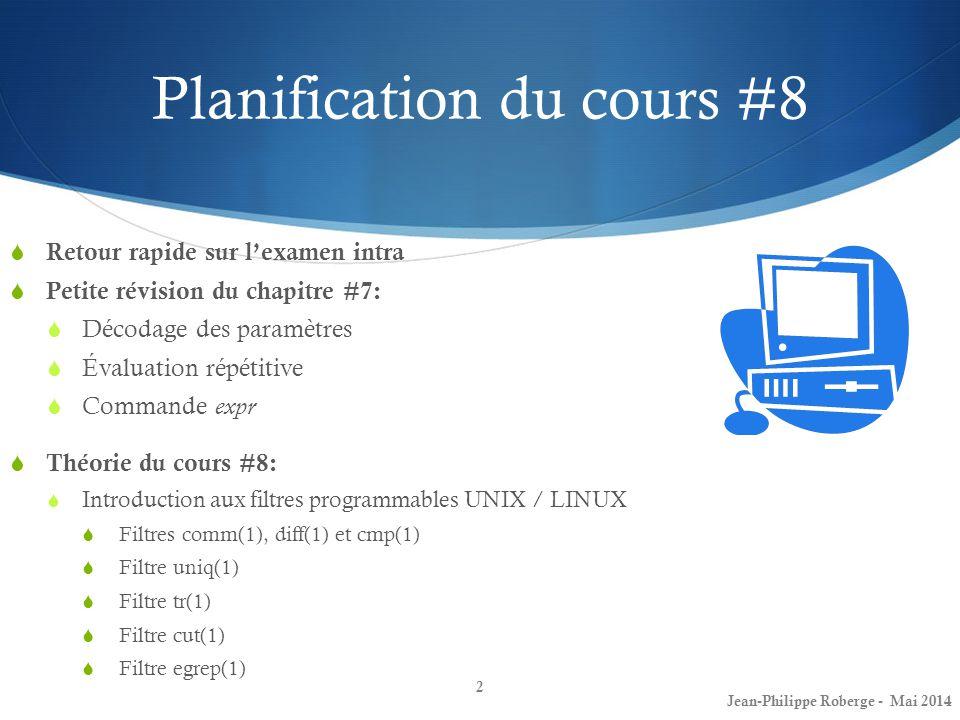 Planification du cours #8