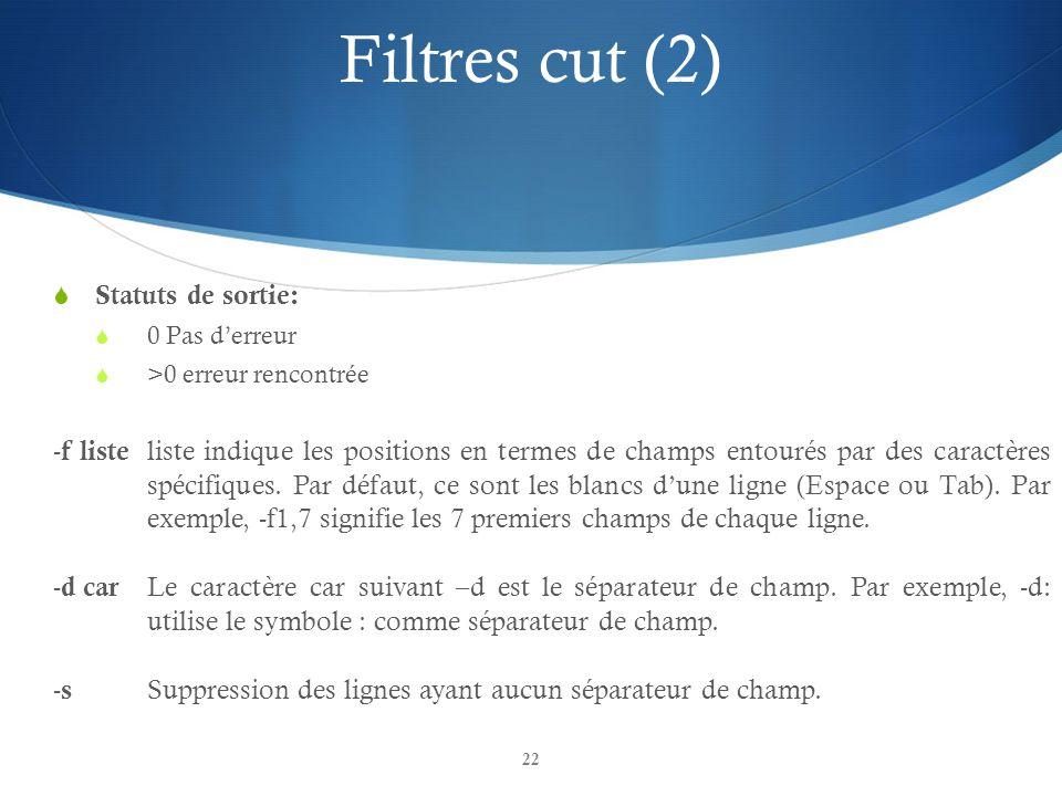 Filtres cut (2) Statuts de sortie:
