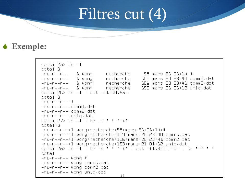 Filtres cut (4) Exemple: