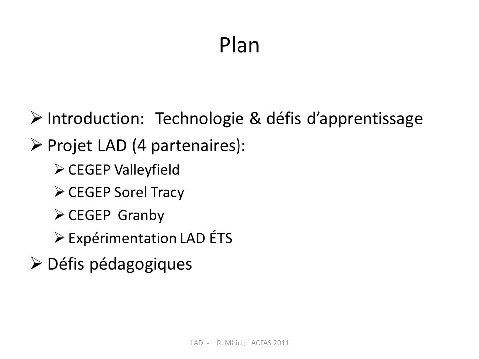 Plan Introduction: Technologie & défis d'apprentissage