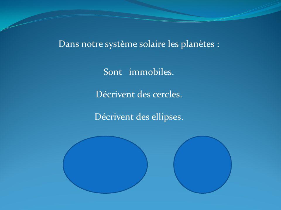 Dans notre système solaire les planètes :