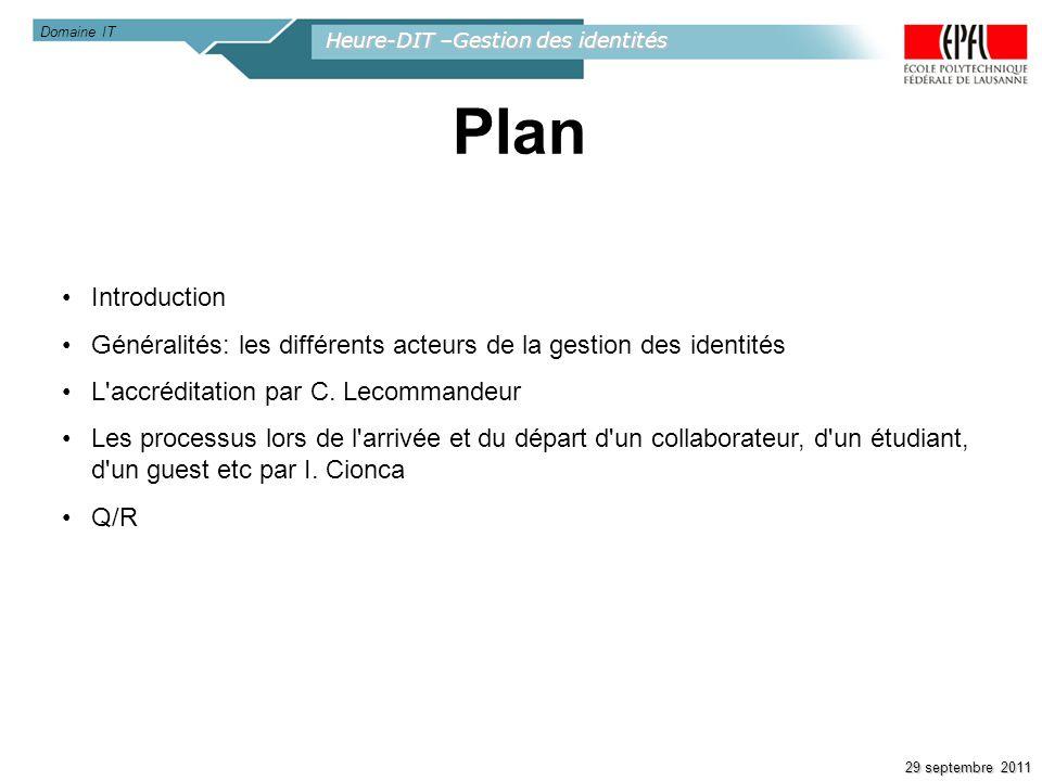 Domaine IT Heure-DIT –Gestion des identités. Plan. Introduction. Généralités: les différents acteurs de la gestion des identités.