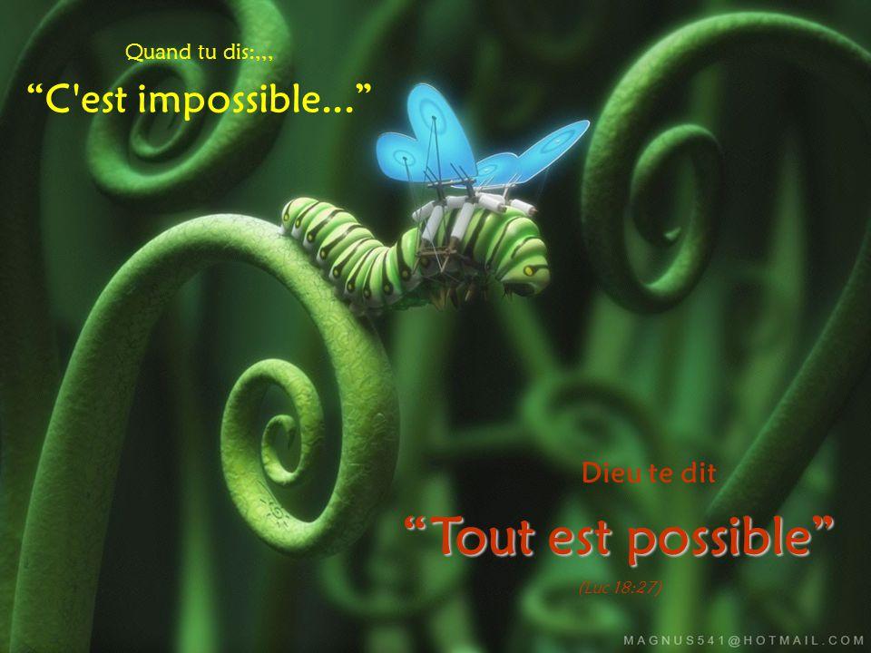 Tout est possible C est impossible... Dieu te dit Quand tu dis:,,,