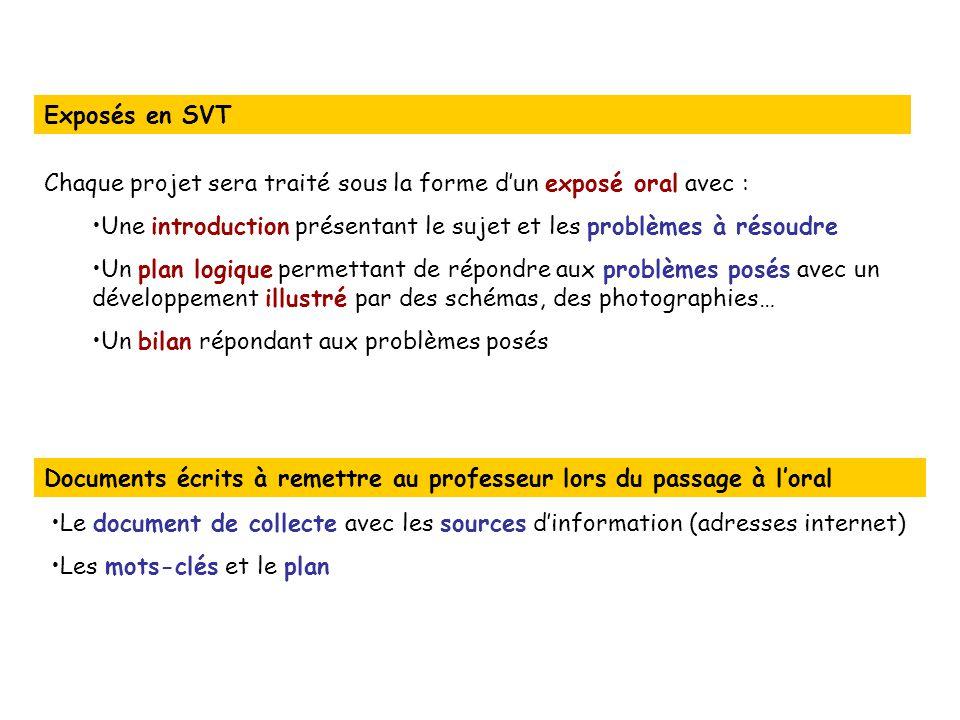 Exposés en SVT Chaque projet sera traité sous la forme d'un exposé oral avec : Une introduction présentant le sujet et les problèmes à résoudre.