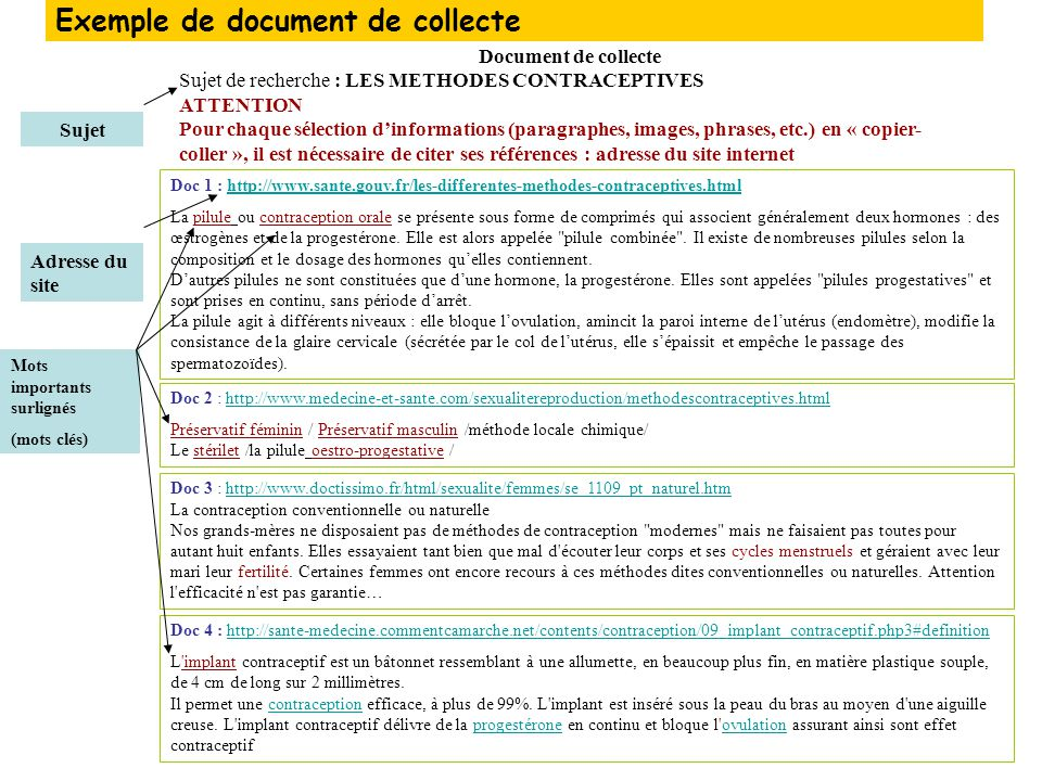 Exemple de document de collecte