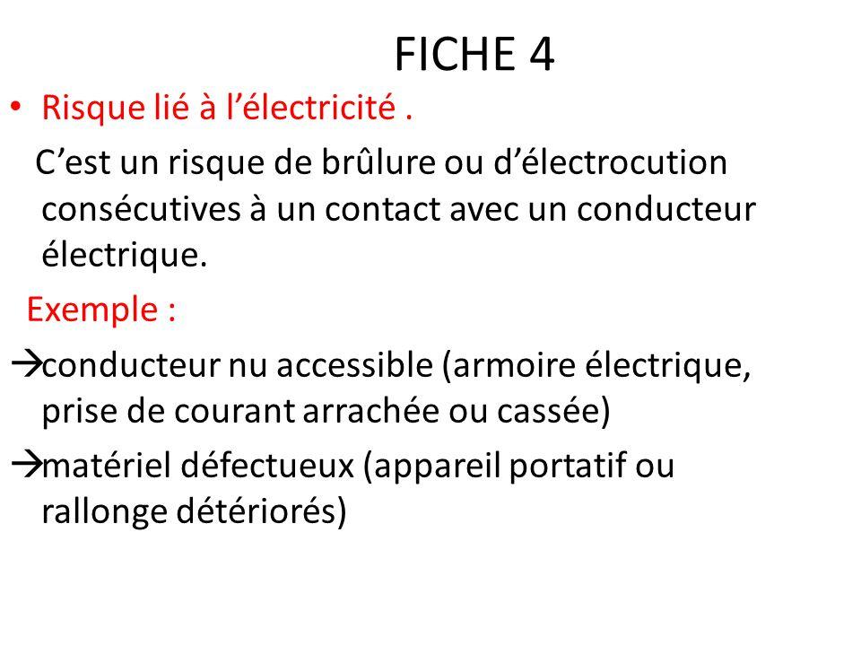 FICHE 4 Risque lié à l'électricité .