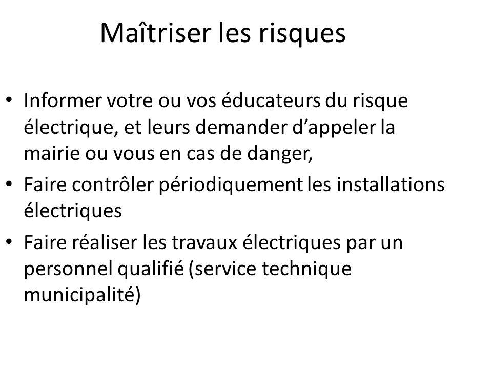 Maîtriser les risques Informer votre ou vos éducateurs du risque électrique, et leurs demander d'appeler la mairie ou vous en cas de danger,