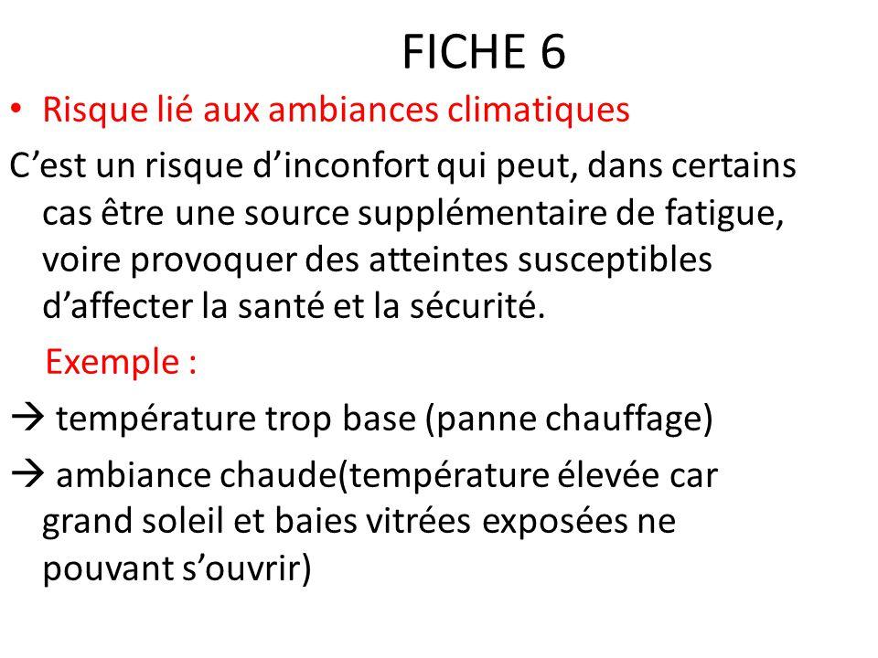 FICHE 6 Risque lié aux ambiances climatiques