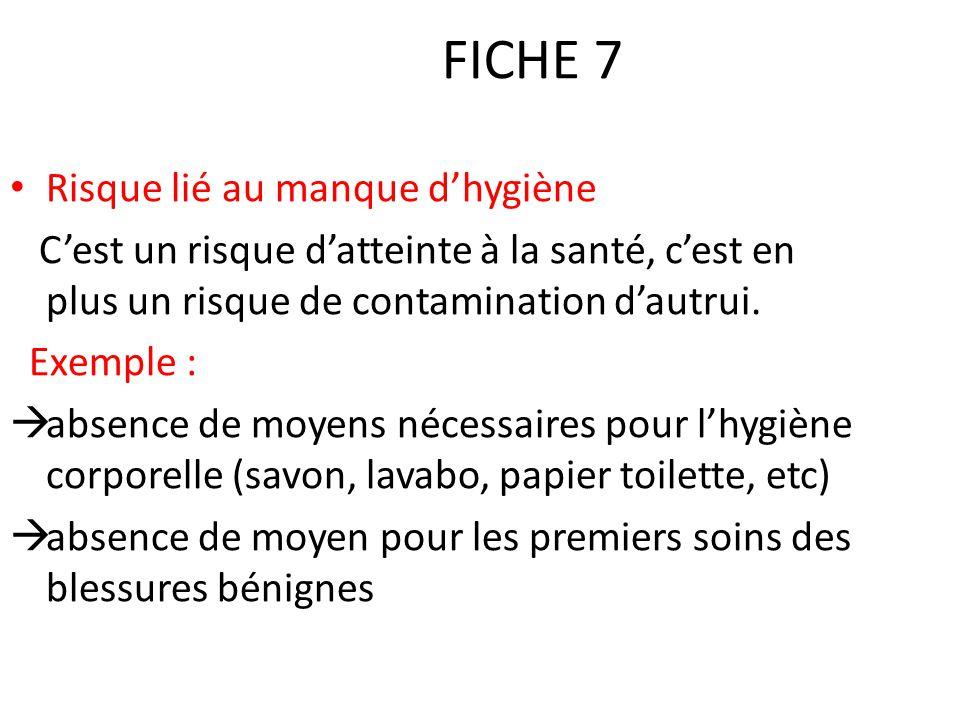 FICHE 7 Risque lié au manque d'hygiène