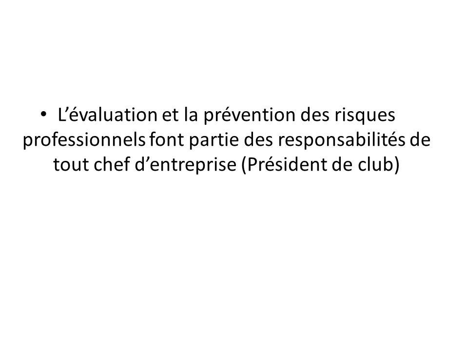 L'évaluation et la prévention des risques professionnels font partie des responsabilités de tout chef d'entreprise (Président de club)