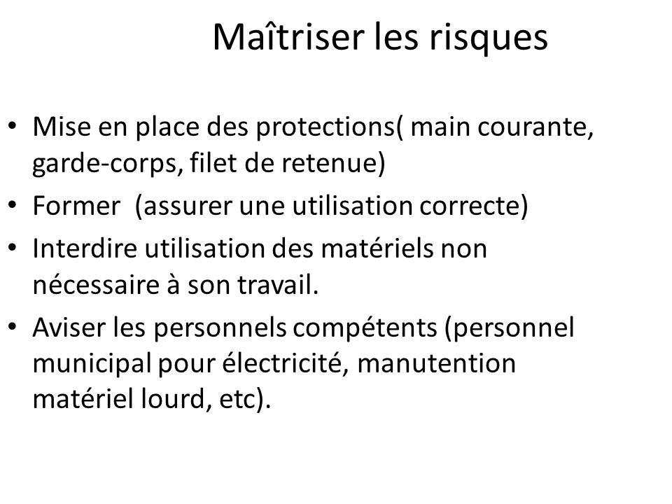 Maîtriser les risques Mise en place des protections( main courante, garde-corps, filet de retenue) Former (assurer une utilisation correcte)
