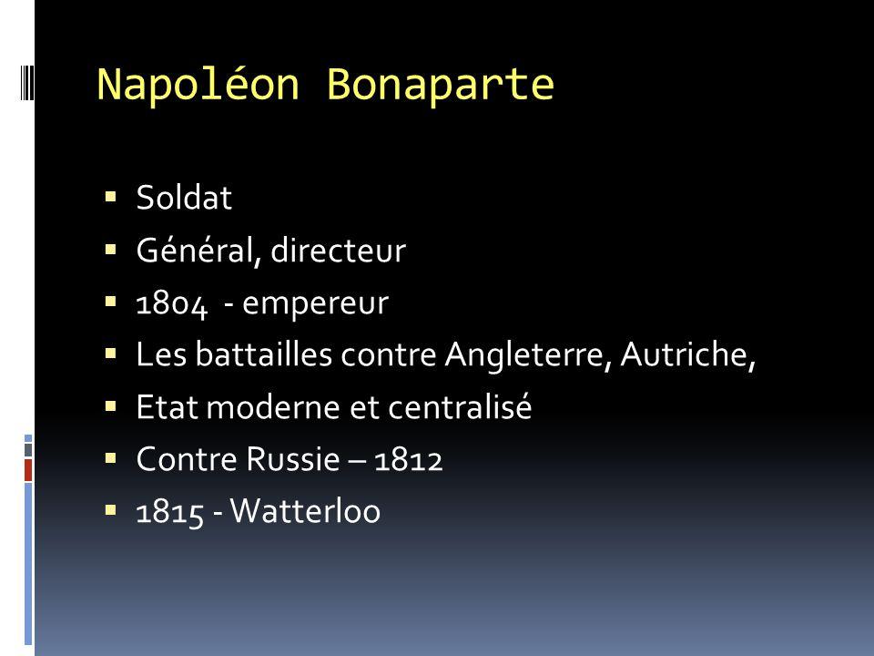 Napoléon Bonaparte Soldat Général, directeur 1804 - empereur