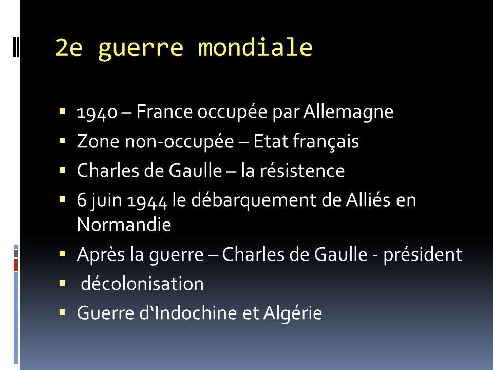 2e guerre mondiale 1940 – France occupée par Allemagne