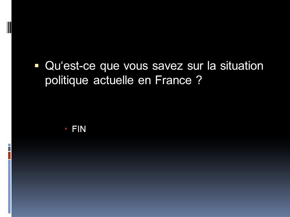 Qu'est-ce que vous savez sur la situation politique actuelle en France