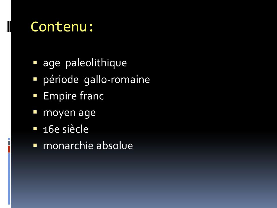Contenu: age paleolithique période gallo-romaine Empire franc