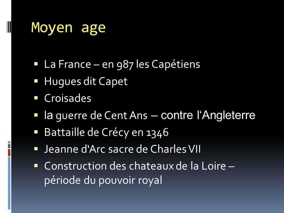 Moyen age La France – en 987 les Capétiens Hugues dit Capet Croisades