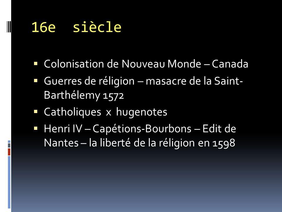 16e siècle Colonisation de Nouveau Monde – Canada