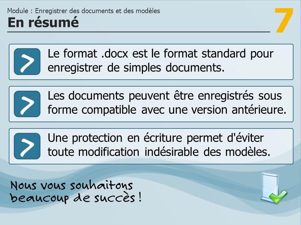 Module : Enregistrer des documents et des modèles