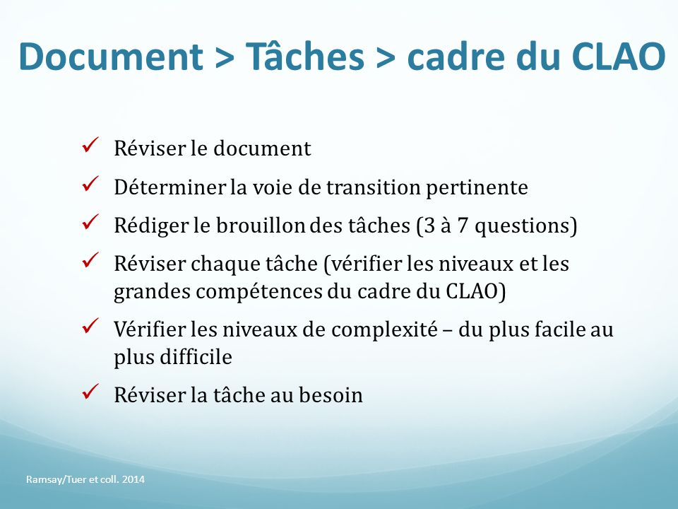 Document > Tâches > cadre du CLAO