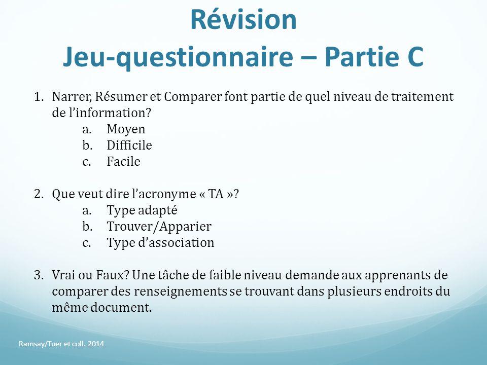 Révision Jeu-questionnaire – Partie C