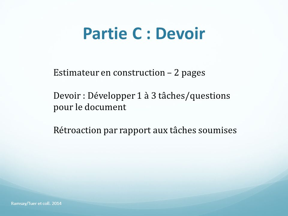Partie C : Devoir Estimateur en construction – 2 pages