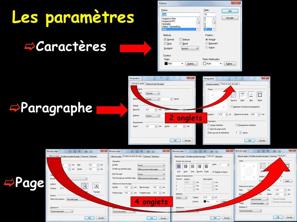 Les paramètres Caractères Paragraphe 2 onglets Page 4 onglets