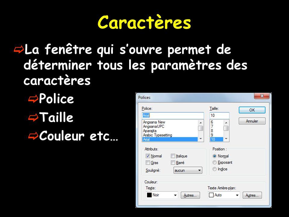Caractères La fenêtre qui s'ouvre permet de déterminer tous les paramètres des caractères. Police.
