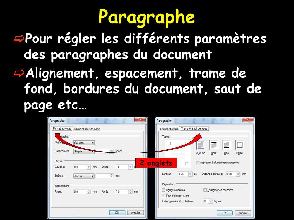 Paragraphe Pour régler les différents paramètres des paragraphes du document.