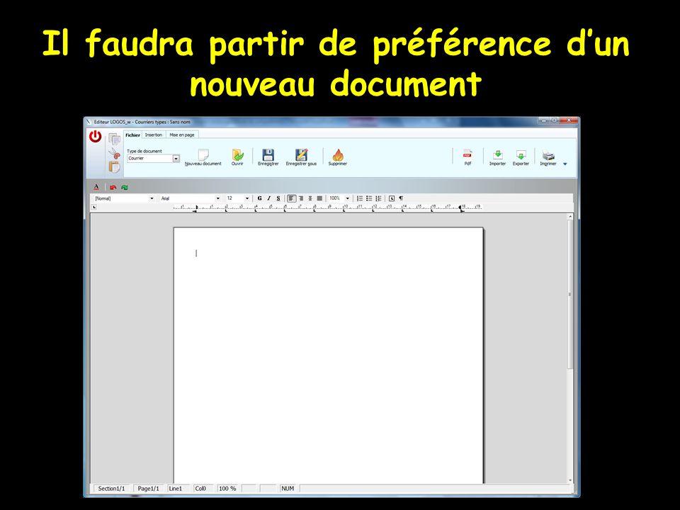 Il faudra partir de préférence d'un nouveau document