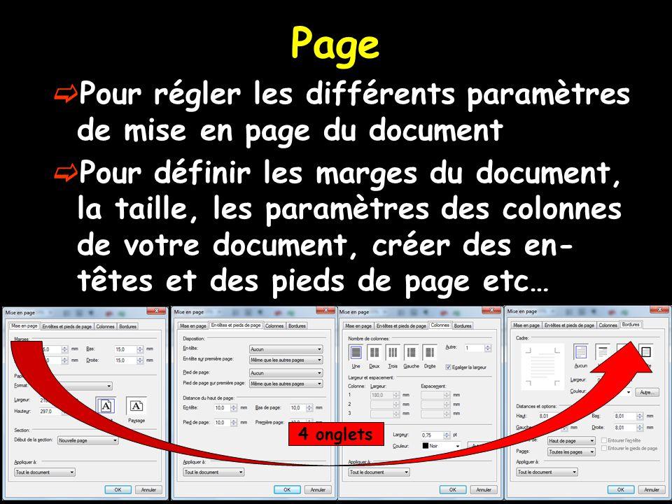 Page Pour régler les différents paramètres de mise en page du document