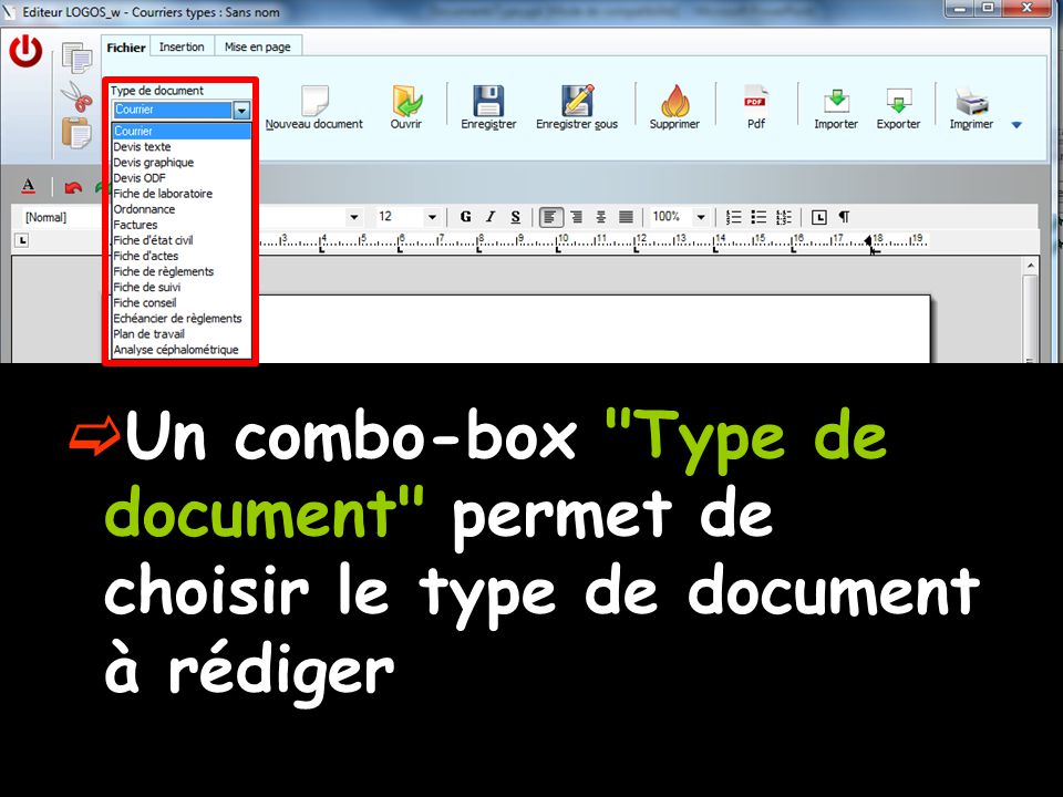 Un combo-box Type de document permet de choisir le type de document à rédiger