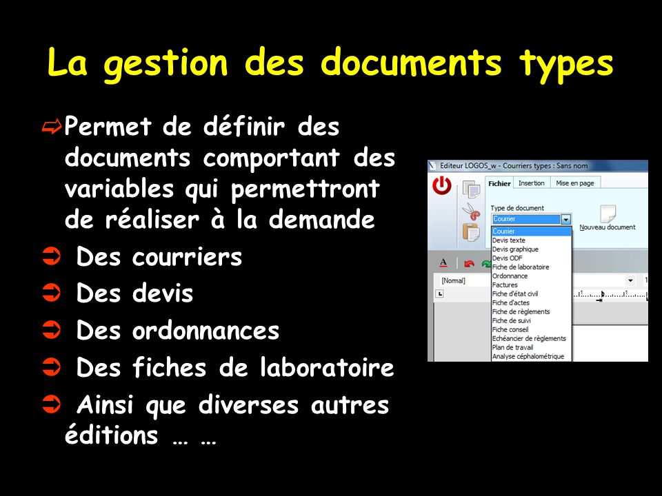 La gestion des documents types