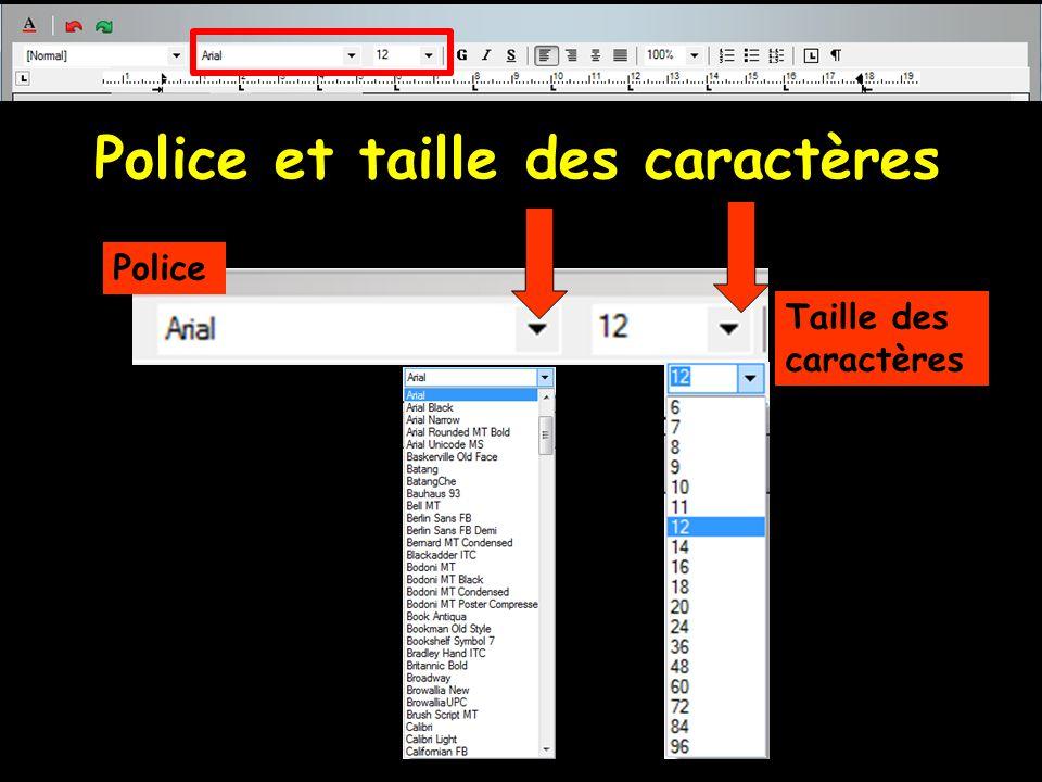 Police et taille des caractères