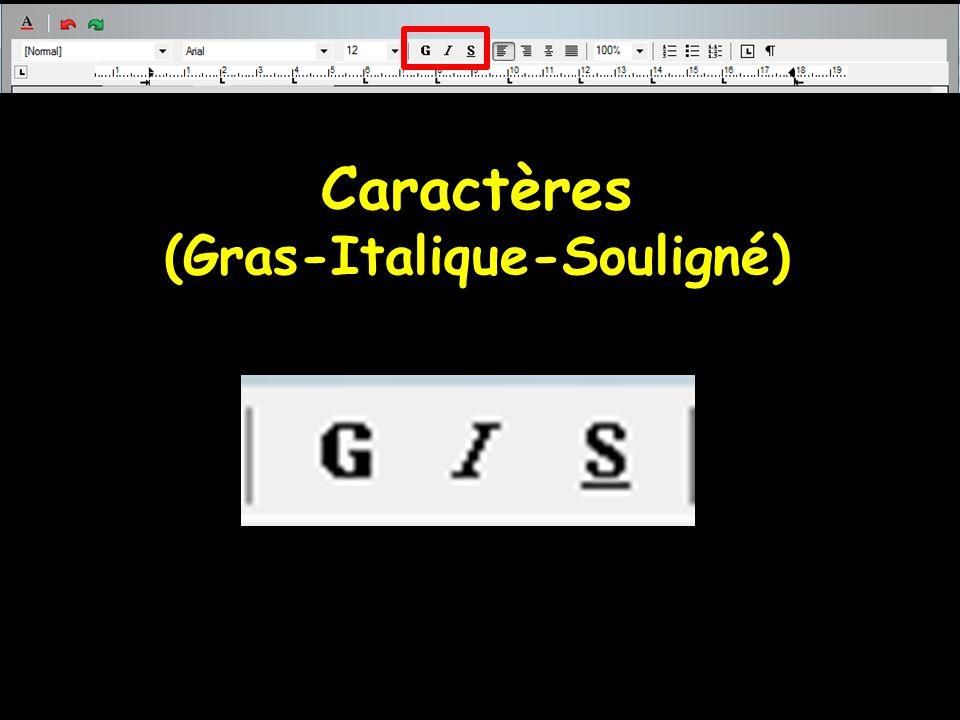 Caractères (Gras-Italique-Souligné)