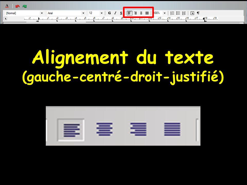 Alignement du texte (gauche-centré-droit-justifié)