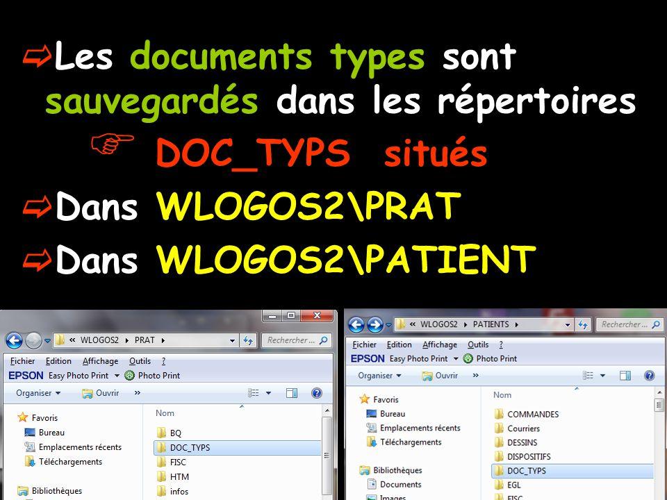 Les documents types sont sauvegardés dans les répertoires