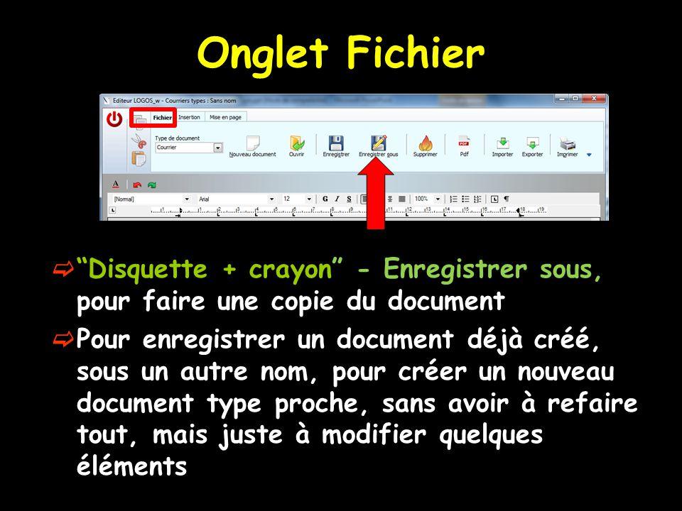 Onglet Fichier Disquette + crayon - Enregistrer sous, pour faire une copie du document.