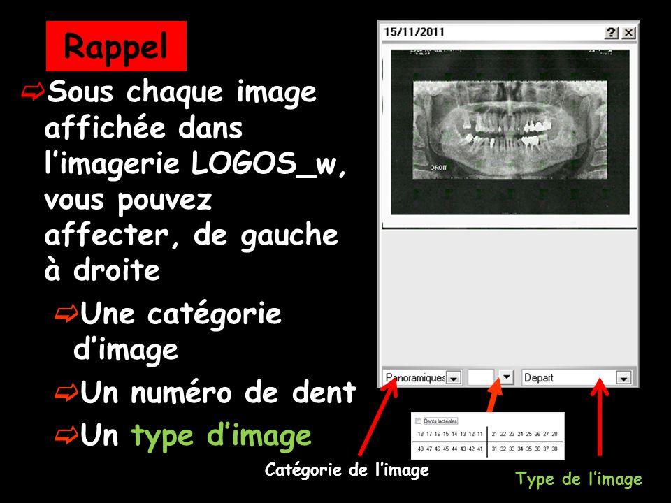 Rappel Sous chaque image affichée dans l'imagerie LOGOS_w, vous pouvez affecter, de gauche à droite.