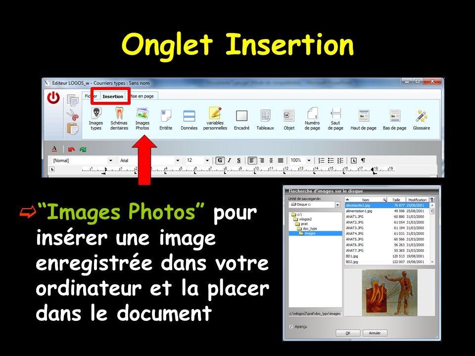 Onglet Insertion Images Photos pour insérer une image enregistrée dans votre ordinateur et la placer dans le document.