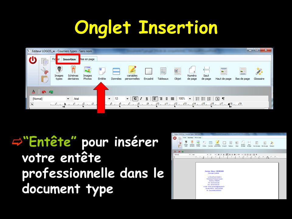 Onglet Insertion Entête pour insérer votre entête professionnelle dans le document type