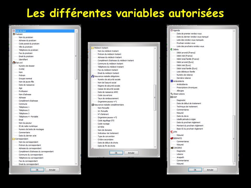 Les différentes variables autorisées