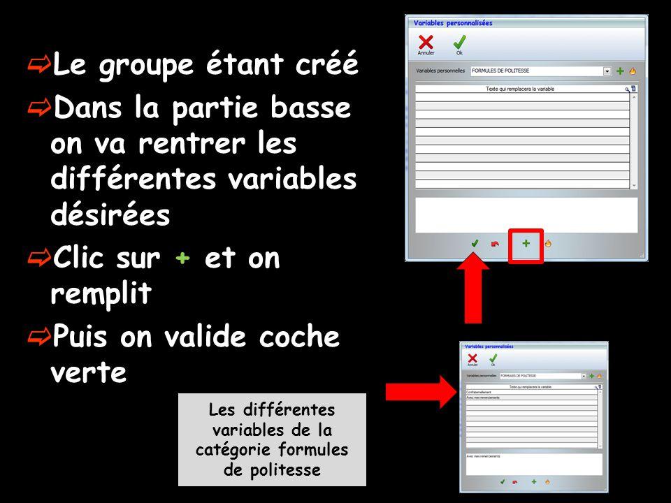 Les différentes variables de la catégorie formules de politesse