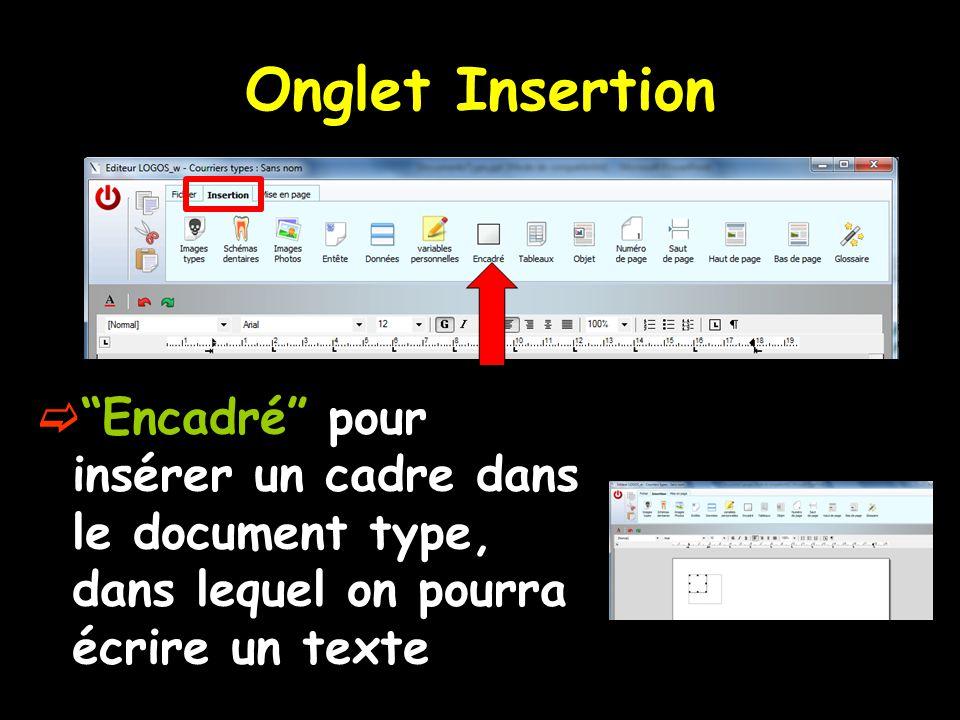Onglet Insertion Encadré pour insérer un cadre dans le document type, dans lequel on pourra écrire un texte.