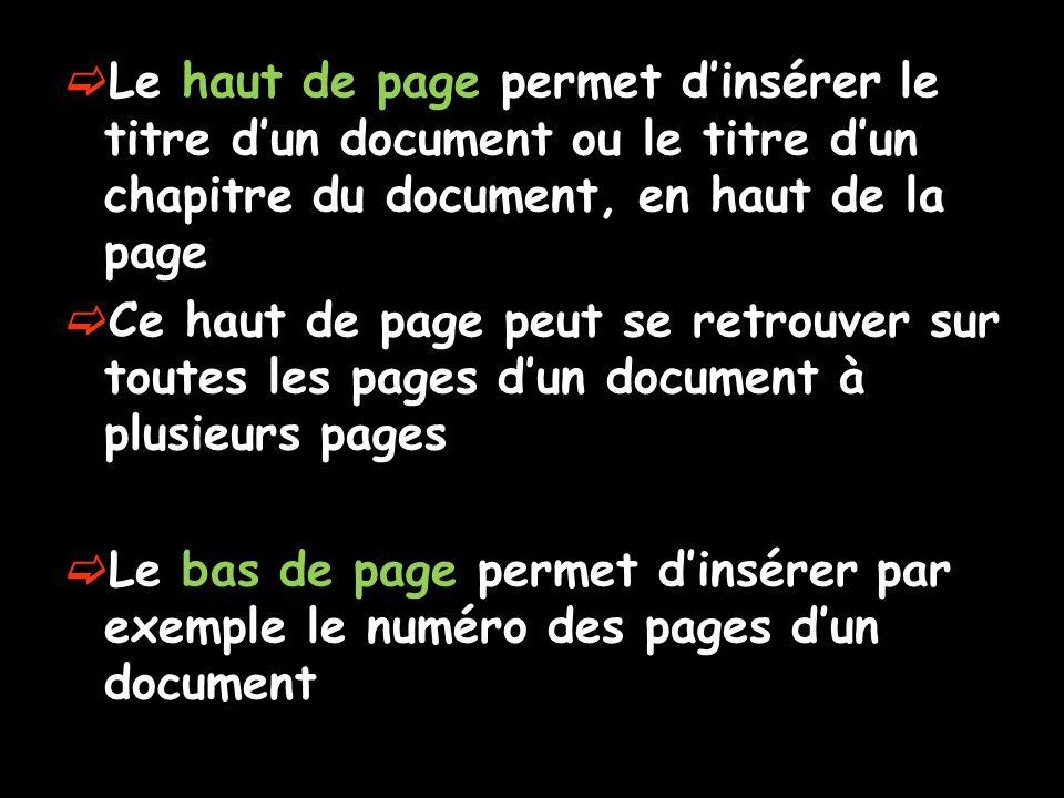 Le haut de page permet d'insérer le titre d'un document ou le titre d'un chapitre du document, en haut de la page
