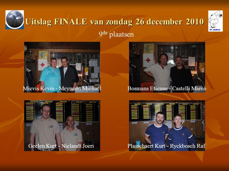 Uitslag FINALE van zondag 26 december 2010