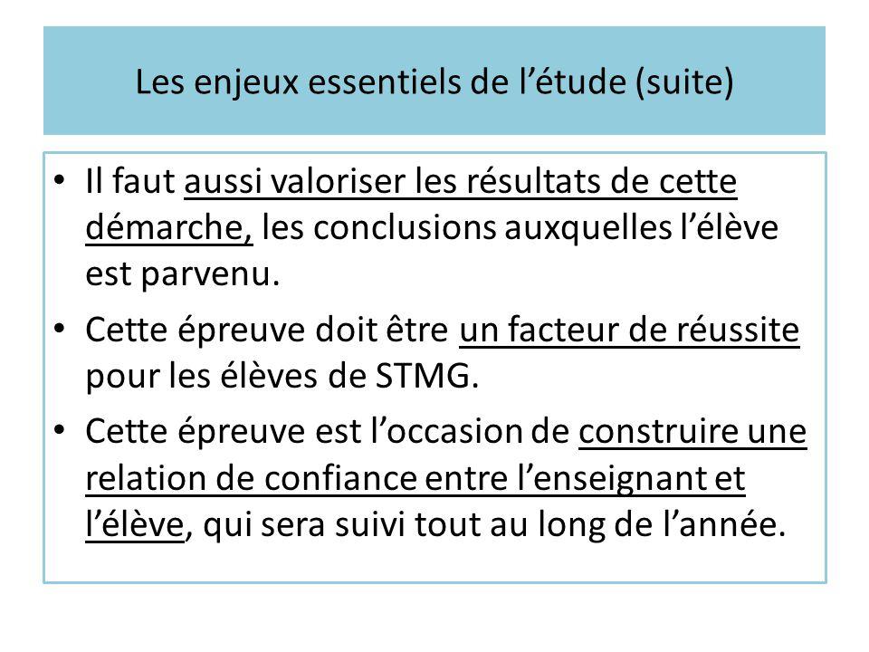 Les enjeux essentiels de l'étude (suite)
