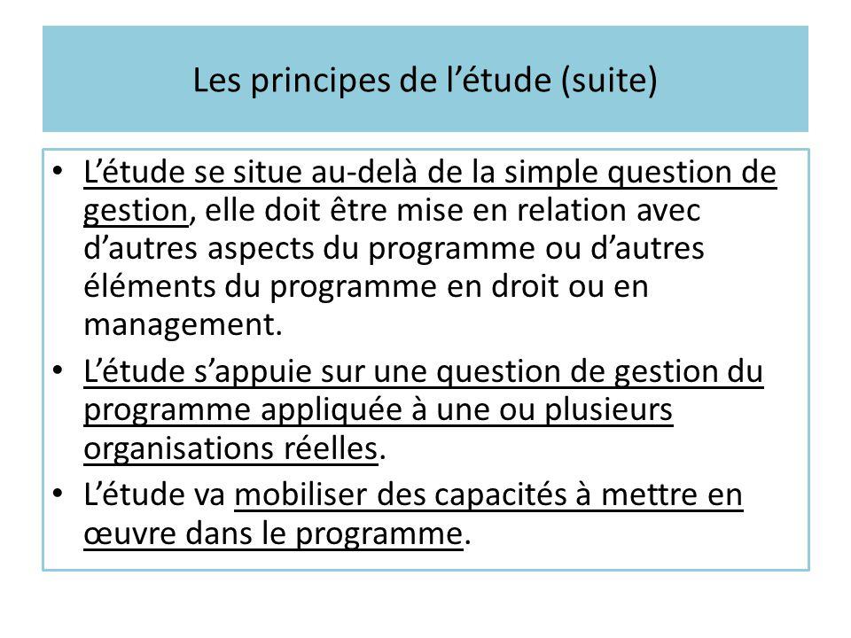 Les principes de l'étude (suite)