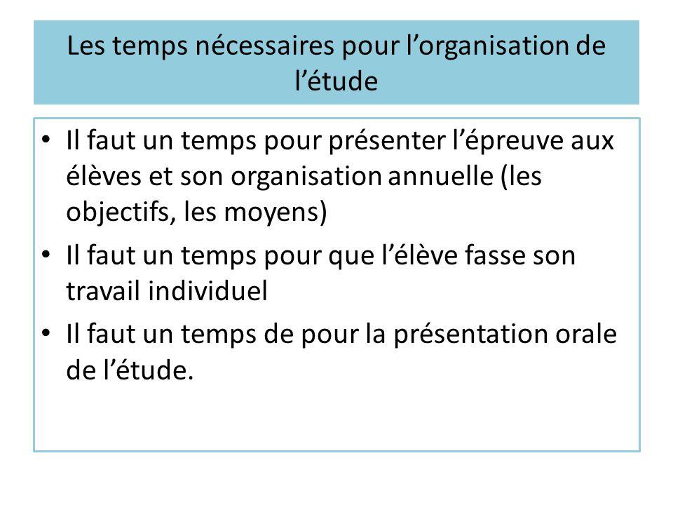 Les temps nécessaires pour l'organisation de l'étude
