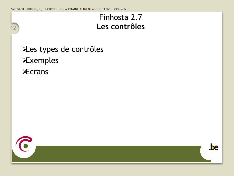 Finhosta 2.7 Les contrôles