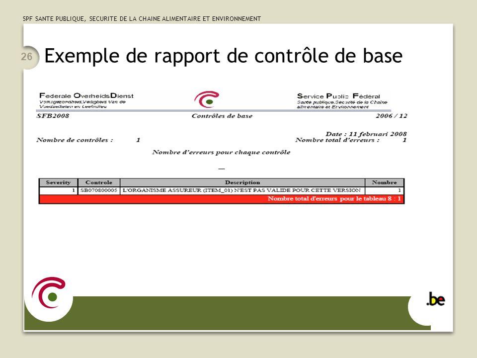 Exemple de rapport de contrôle de base